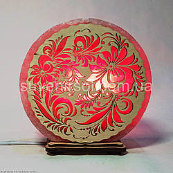 Соляной светильник круглый Цветы 16