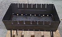 Складной мангал чемодан на 10 шампуров, толщина стали 2 мм, для похода или дачи