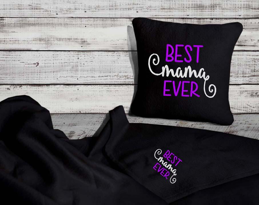"""Набор: подушка + плед """"Best Mama Ever"""" 03 цвет черный"""