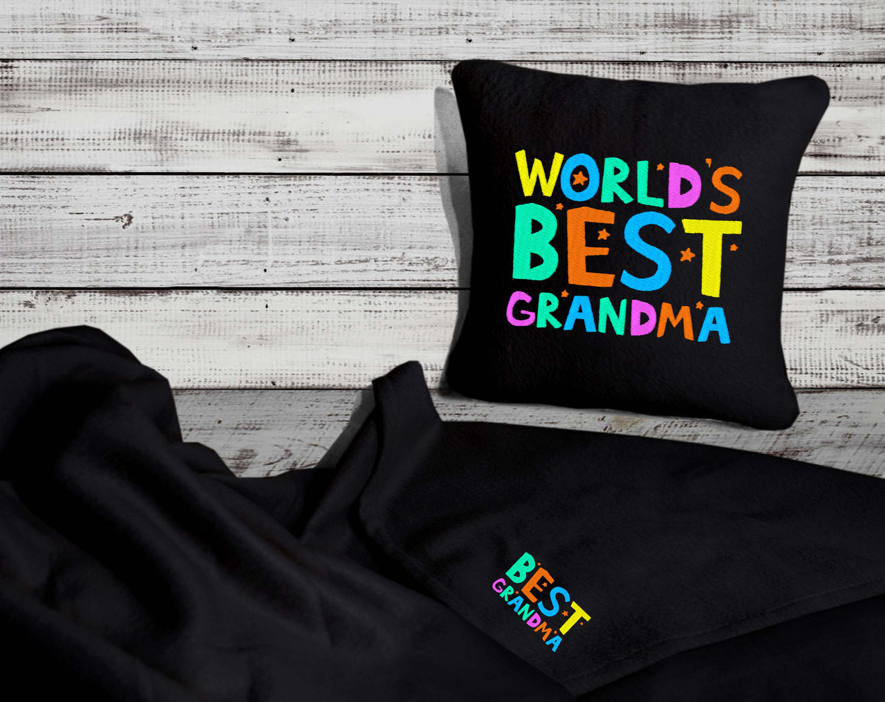 "Набор: подушка + плед ""World's Best Grandma"" 04 цвет черный"