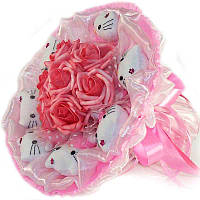 Букет из мягких игрушек Котики 7 с розами в розовом, фото 1