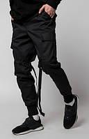 """Молодежные мужские черные брюки карго ТУР """"Yoshimitsu"""" зауженные"""