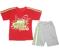Детский летний костюмчик  р. 104: футболка рукавом и шортики, тонкий хлопок; ТМ Финтекс, Украина Красный