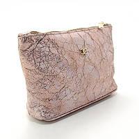 Косметичка кожаная женская золотисто-розовая, ручная работа 079