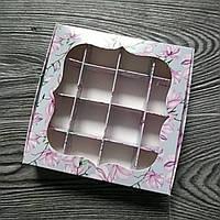 Коробка для конфет (150*150*30 мм.) Магнолия с окном