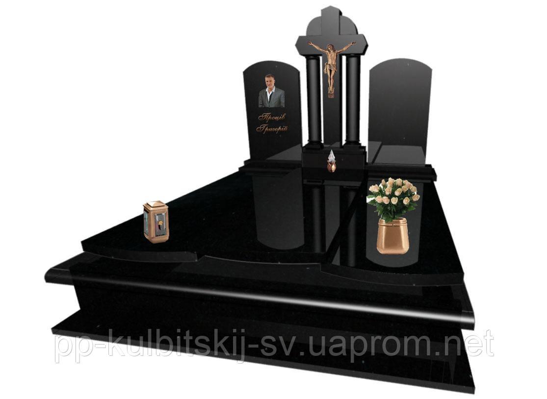 """Надгробний пам'ятник подвійний з хрестом"""" F104"""