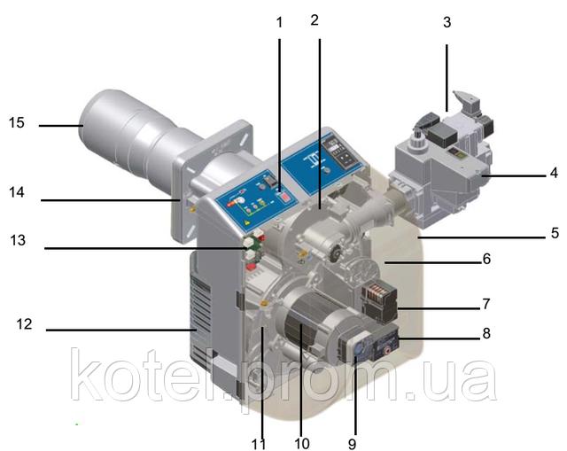 Схема конструкции газовых прогрессивных горелок Unigas NG 550 PR