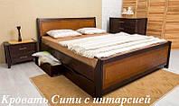 Кровать Сити с интарсией и ящиками, фото 1