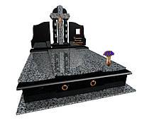 """Пам'ятник гранітний елітний подвійний """"Хрест з колонами"""" F6006, фото 1"""