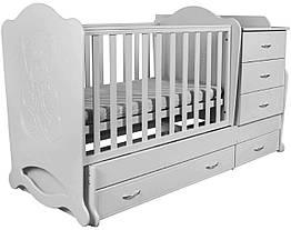 """Детская кроватка-трансформер с комодом """"Мишка со стразами"""" 3 в 1 Angel"""