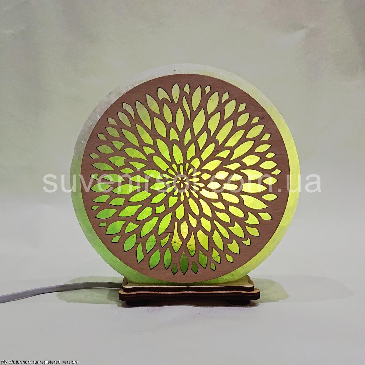 Соляной светильник круглый Узор 18