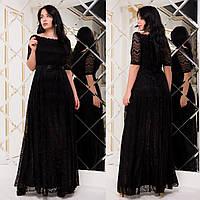 """Черное гипюровое платье макси вечернее батал """"Грация"""", фото 1"""