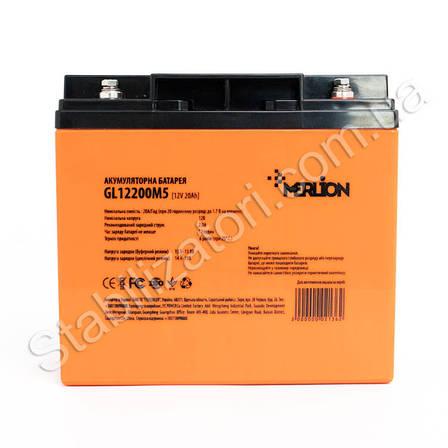 MERLION GL1220M5 - 12В - 20А/ч Гелевый аккумулятор, клемма под болт, фото 2