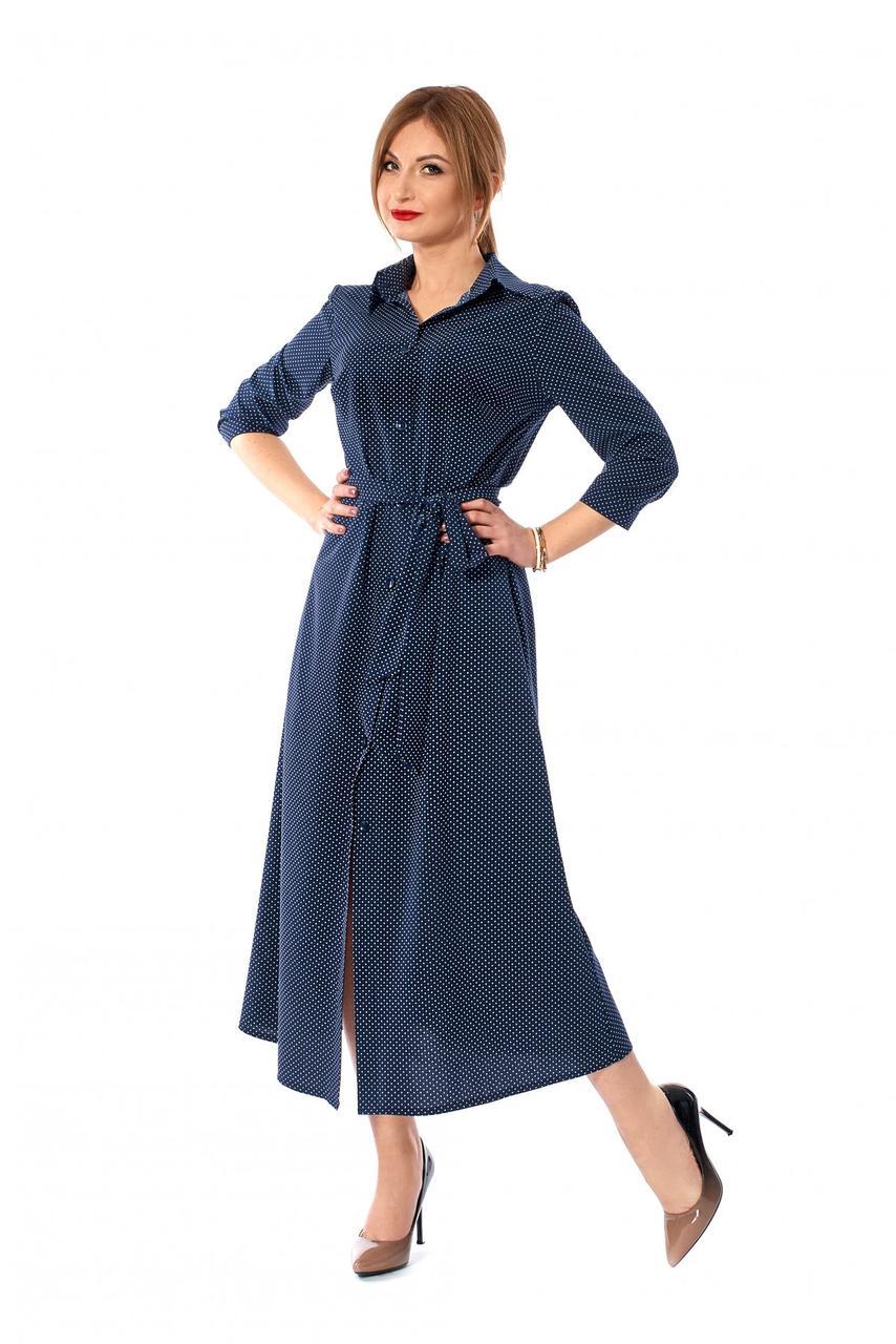 Длинное платье рубашка 1140.1 синее