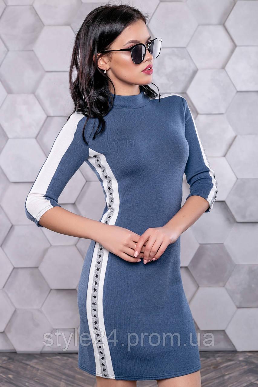 Стильне жІноче плаття з зірочками на лампасах. Р-ри 42-48