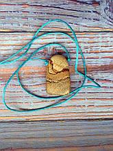 Камень на шнурке   Пейзажная яшма оберег   Натуральный камень с отверстием