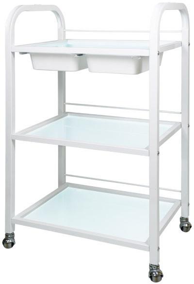 Косметологическая тележка, столик косметолога BS-042 на 3 полки с двумя пластиковыми лотками, стекло, белая