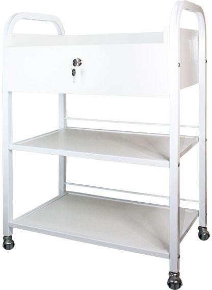 Косметологическая тележка, столик для наращивания ресниц BS-010 на 2 полки, с ящиком, ДСП