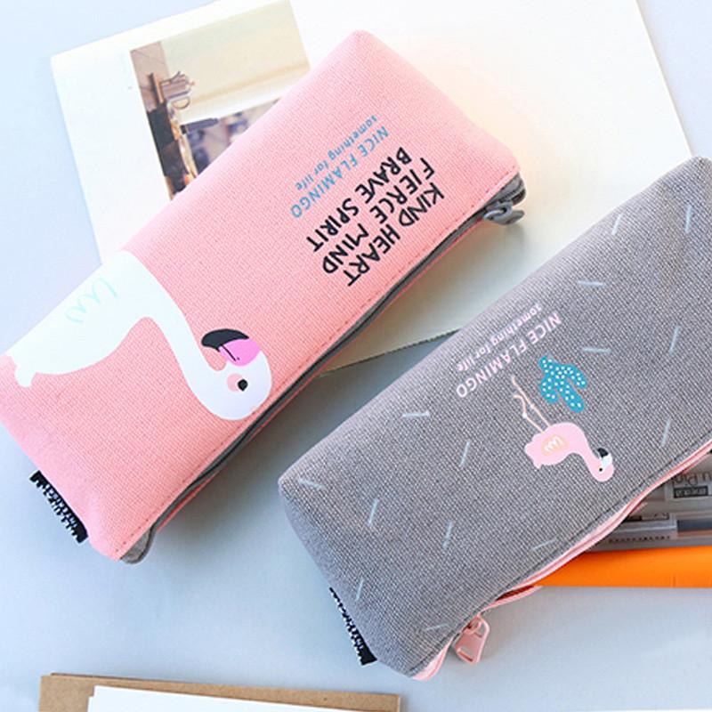 Пенал с Фламинго текстильный