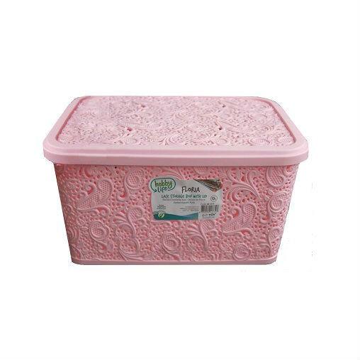 Корзина ажурная с крышкой, 10 л, с ручками, пластик, розовый
