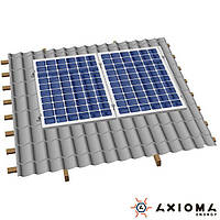 Система креплений на 2 панели параллельно крыше, алюминий 6005 Т6 и нержавеющая сталь А2, AXIOMA energy