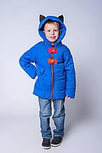 Качественная демисезонная куртка для мальчика капюшон с ушками 92-110