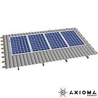 Система креплений на 4 панели параллельно крыше, алюминий и нержавеющая сталь А2, AXIOMA energy