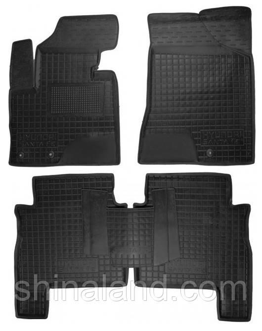 Коврики в салон Hyundai Santa Fe II (5 мест) 2005 - 2012, черные, полиуретановые (Avto-Gumm 11165) - комплект (4 шт.) + перемычка