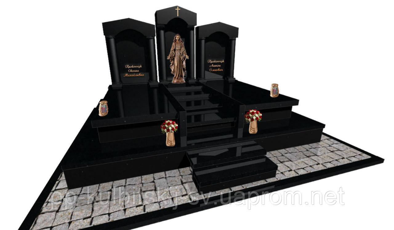 Пам'ятник ексклюзивний з чорного граніту і скульптурою Богородиці S640