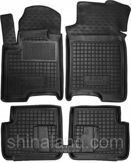 Коврики в салон Fiat Panda III 2012 - черные, полиуретановые (Avto-Gumm 11368) - комплект (4 шт.) + перемычка