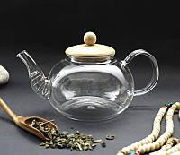 Чайник заварочный стеклянный 800 мл с ситом-пружиной и деревянной крышкой