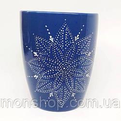 Роспись, ручная работа. Чашка тёмно-синий 330 мл