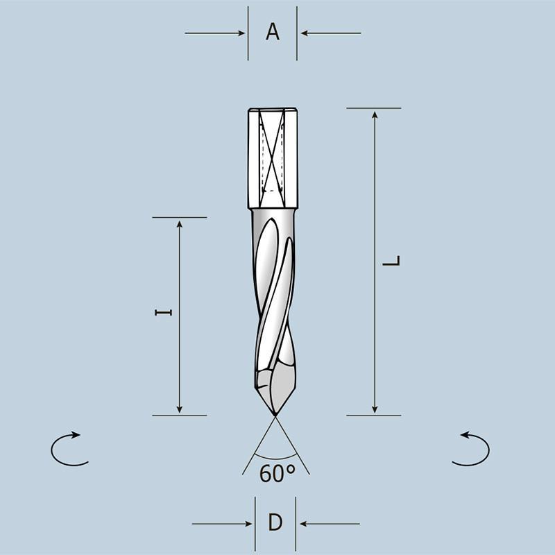 Сверло сквозное D5 l43 L70 S10x20 RH (правое) 02405007021