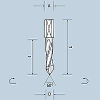 Свердло наскрізне D5 l43 L70 S10x20 RH (праве) 02405007021