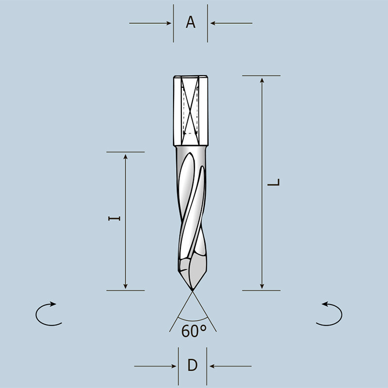Свердло наскрізне D5 l43 L70 S10x20 LH (ліве) 02405007022