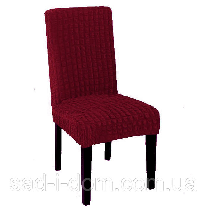 Набор чехлов на обеденный стул без юбки, чехлы на стулья 6 шт, бордовый