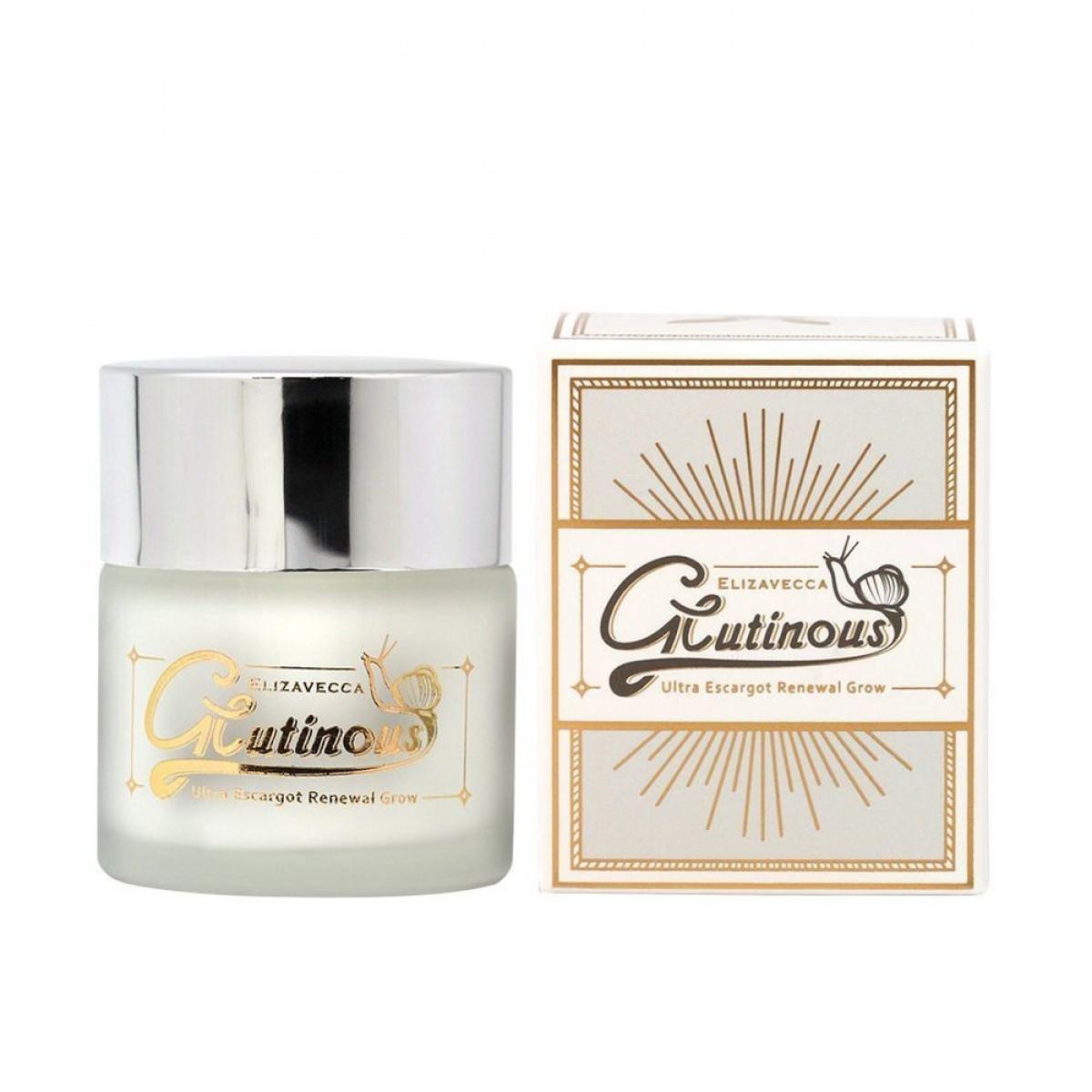 Антивозрастной крем для лица с муцином улитки 90 % Elizavecca Glutinous Cream