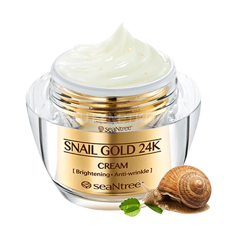 Крем для лица премиум-класса с муцином улитки и коллоидным золотом seaNtree Snail Gold 24K Eye Cream 50 мл