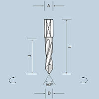 Сверло сквозное D12 l43 L70 S10x20 RH (правое) 02412007021