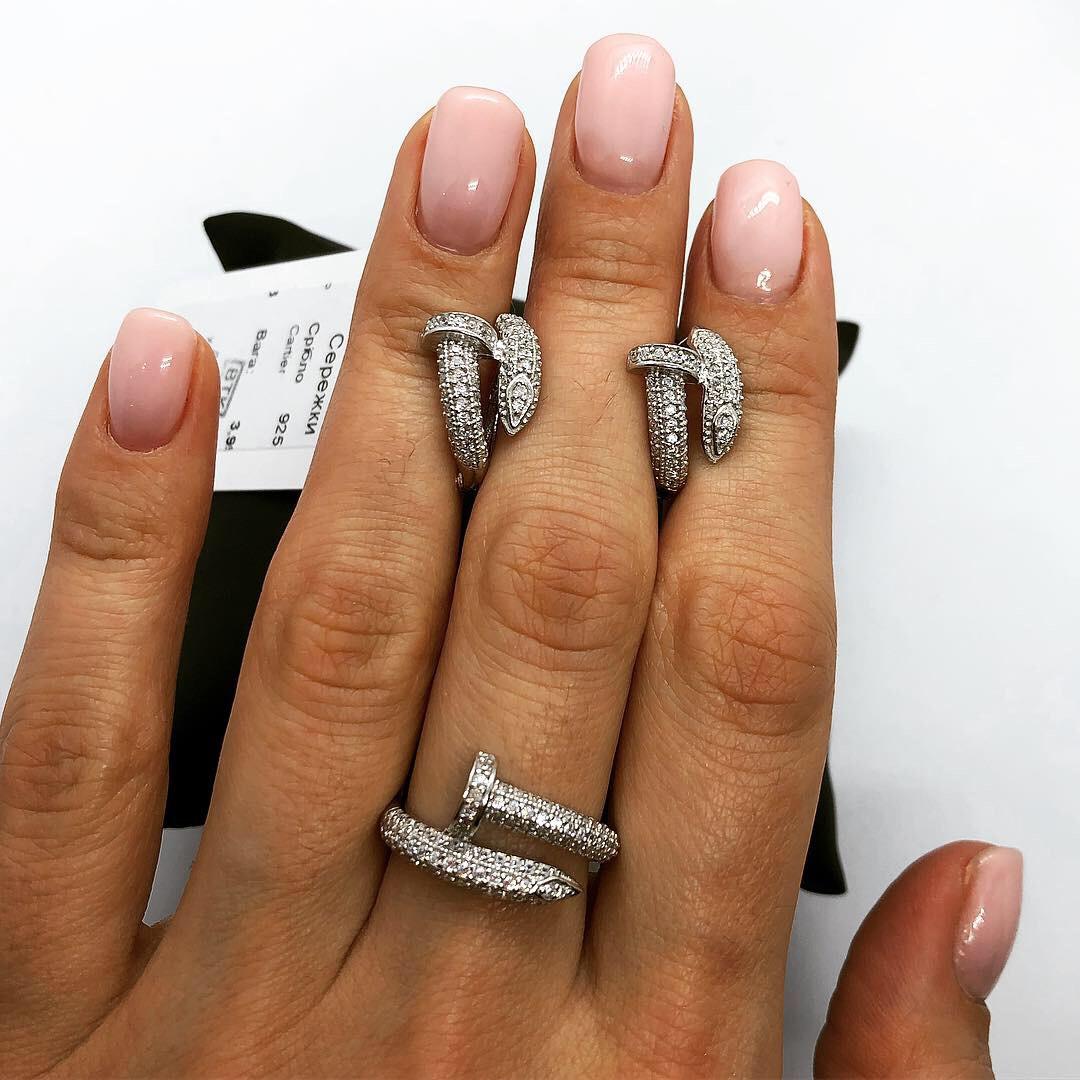 Набор украшений из серебра 925 My Jewels серьги + кольцо в стиле Cartier Juste Un Glou
