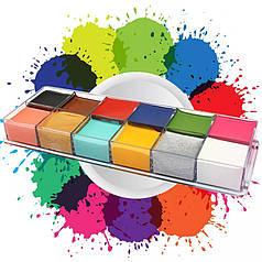 """12 цветов краска боди-арт для лица маслом """"12 Cololr Face Paint"""" вес 70 грамм"""