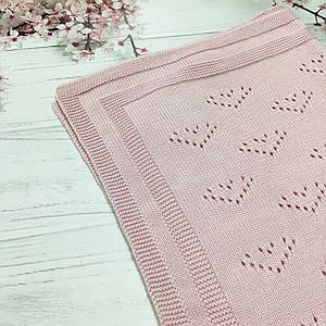 Плед вязанный Валентинка розового цвета 95*75 см (90% хлопок, 10% акрил)