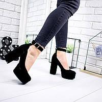 Туфли женские Rexa черные натуральная замша 6805, фото 1