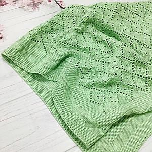 Плед вязанный ромбик светло-зеленого цвета 95*75 см (90% хлопок, 10% акрил)