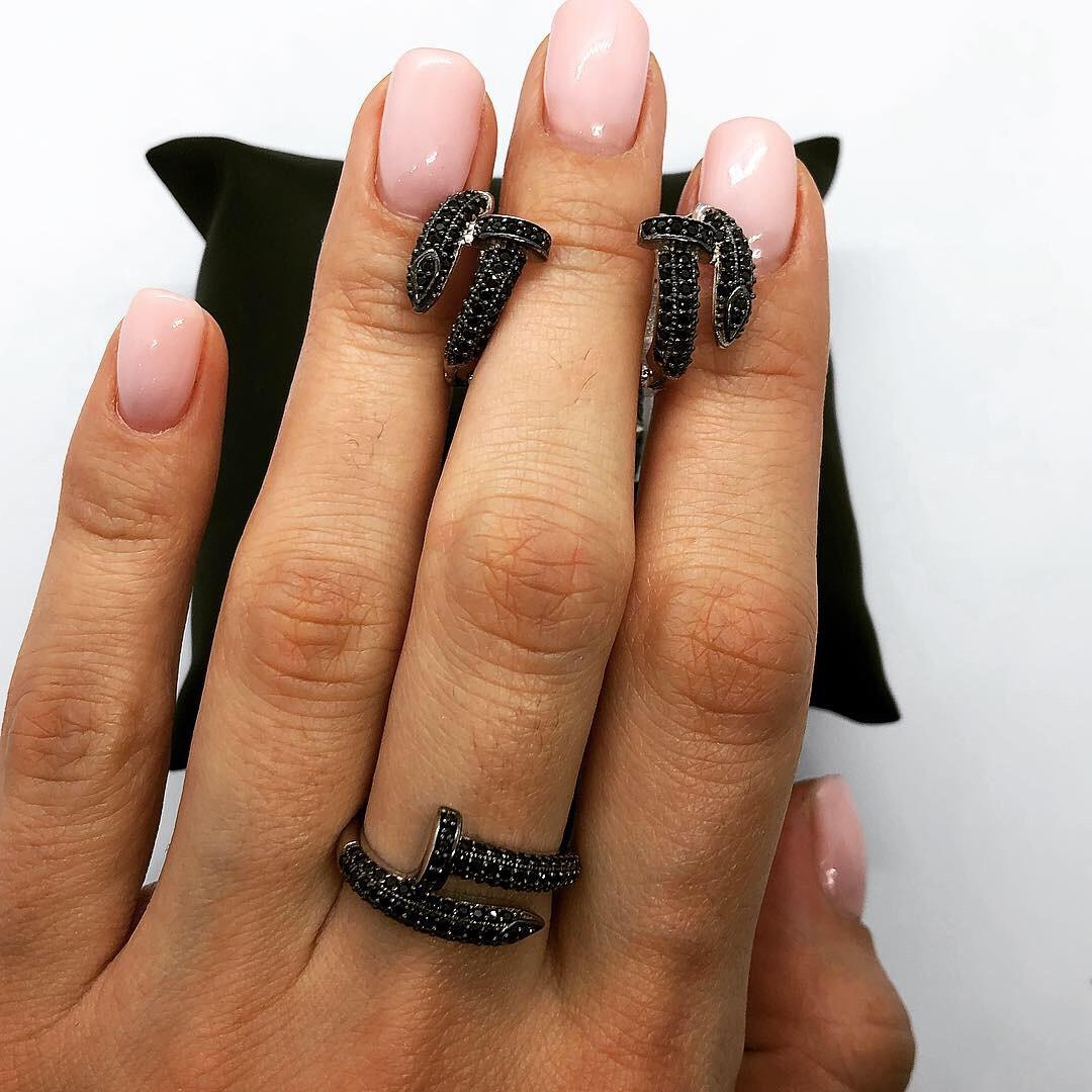 Набор украшений из серебра 925 My Jewels серьги + кольцо в стиле Cartier Juste Un Glou (черный)