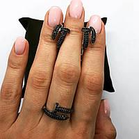 Набор украшений из серебра 925 My Jewels серьги + кольцо в стиле Cartier Juste Un Glou (черный), фото 1