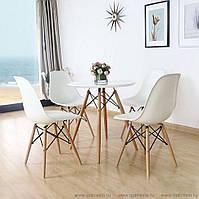 Круглый стол Тауэр вуд белый  D60 см на буковых ножках от SDM Group