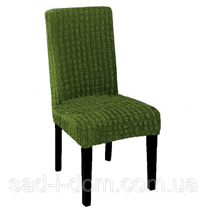 Набор чехлов на обеденный стул без юбки, чехлы на стулья 6 шт, зелёный, фото 1