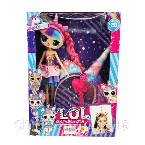 Набор L.O.L Otrageous Littles кукла с волосами и обруч единорог