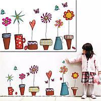 """Наклейка на стену, наклейка цветок, на шкаф """"Цветы в горшках"""", наклейки на окна на прозрачной (лист45*60см)"""